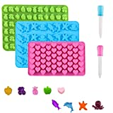 Vpqnee 3 Pack Mini-Size Silicone Gummy Candy Chocolate Molds Contains Small Hearts, Fruits, Marine Animal Shapes and 2 Droppers for Making Gummy, Chocolate and Small Ice Cubes