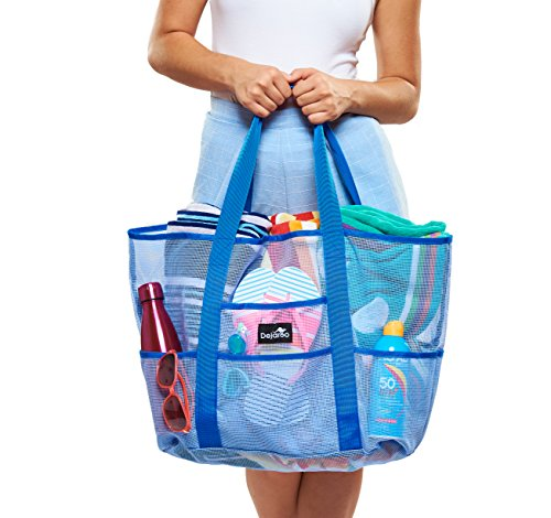 Dejaroo Mesh Beach Bag – Toy Tote Bag – Large Lightweight Market, Grocery & Picnic Tote with Oversized Pockets (Blue on Blue)