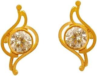 Lagu Bandhu 22k (916) Yellow Gold and American Diamond Stud Earrings for Women