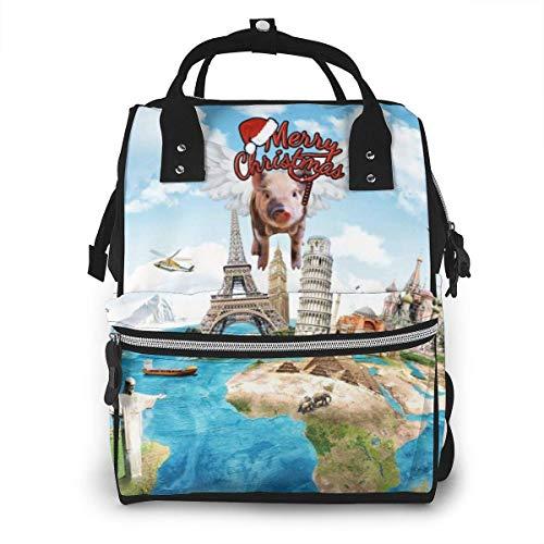 GXGZ Sac à dos imperméable à couches de World Map d'attraction, compartiment avec deux poches et huit rangements, sacs d'allaitement élégants et durables pour les parents