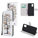 Miagon Bunt Muster Full Body Hülle für Samsung Galaxy S10 Lite,PU Leder Leder Flip Case Schutzhülle Tasche mit Ständer Kartenfach Magnetschnalle,Haustier Baum