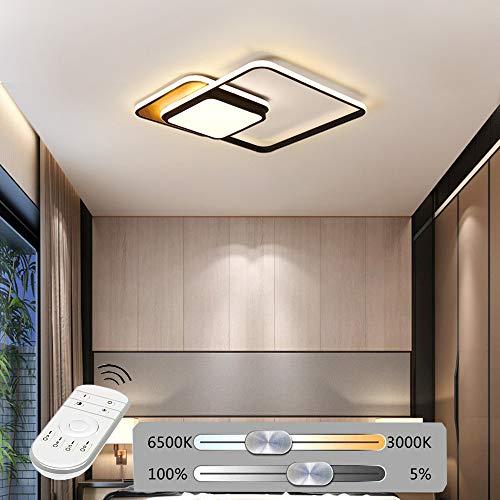 Hil Led-plafondlamp van aluminium, creatief, voor kinderen, vierkant, eenvoudige persoonlijkheid, plafondlamp, woonkamer, modern, warm, dimbaar 55 * 55 * 6CM Zwart
