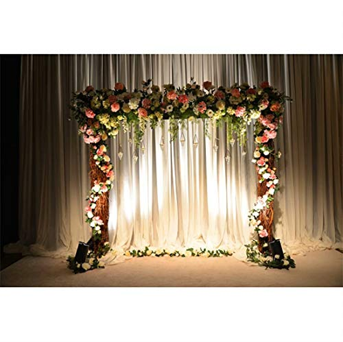 shensu 5x3ft Vinyl Wedding Flowers Arch Door Backdrop Background White Curtain Colorful Flowers with Bright Lamp String Photo Backdrops Adults Portrait Party Decor Booth Studio Props