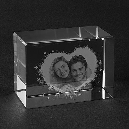 Personello® Glaskristall mit Fotogravur Herz, Glasfoto mit Foto in Glas graviert, Fotogeschenke, Größe L=100x70x60mm