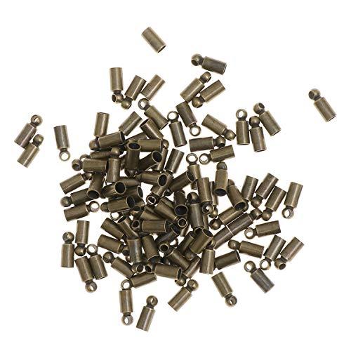 Artibetter Terminales del cordón de los casquillos de extremo del barril 100pcs para la fabricación de la joyería del cordón de cuero