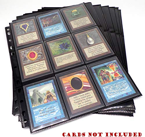 docsmagic.de 10 18-Pocket Pages Black - Toploading Standard Size - MTG - Pokemon - 11-Hole - Schwarz