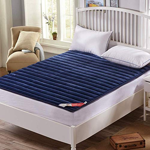 WZF Topper mattress plush cover for sleeping Folding washable thick blue matt King Size 150x200 cm (59x79 inches)