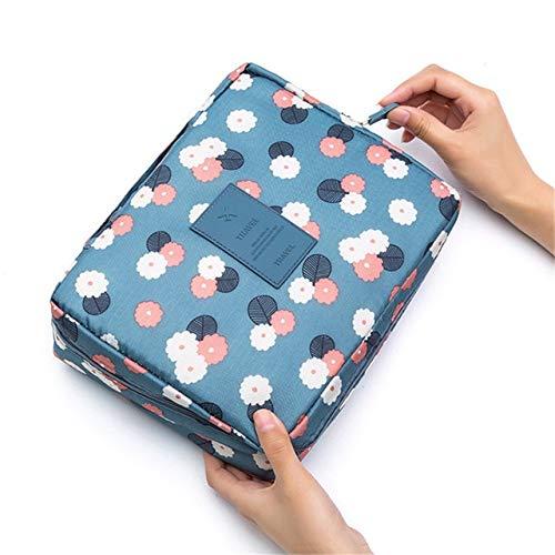 BLI Multifunctional Travel Cosmetic Bag Ladies Cosmetic Bag Cosmetic Storage Box Waterproof Female Storage Cosmetic Box Blue Flowers