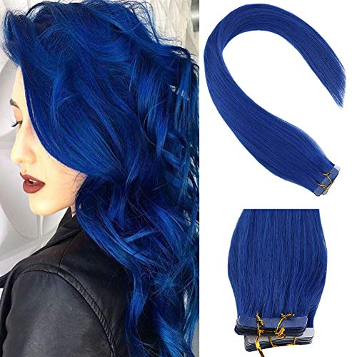 VeSunny Remy Tape in Colored Hair Extensions Blue Human Hair Skin Weft Silky Smooth Tape in Colorful Hair Extensions With Salon Quality 16inch