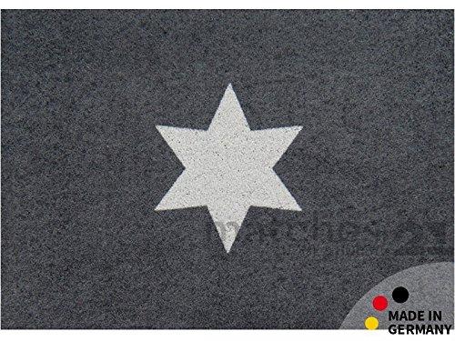 matches21 Fußmatte Fußabstreifer schmutzabsorbierend Schmutzfangmatte Clean Keeper Stern grau 50x70 cm schmutzabsorbierend universell einsetzbar