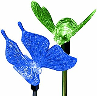Butterfly Bumble Bee Decorations Solar Garden Outdoor Decor Stake Lights Color Changing Decorative Landscape Path LED Bulb...