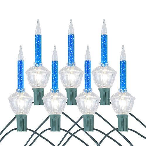 Novelty Lights 7 Light Traditional Christmas Bubble Light Set, Blue with Silver Glitter, 7 Feet