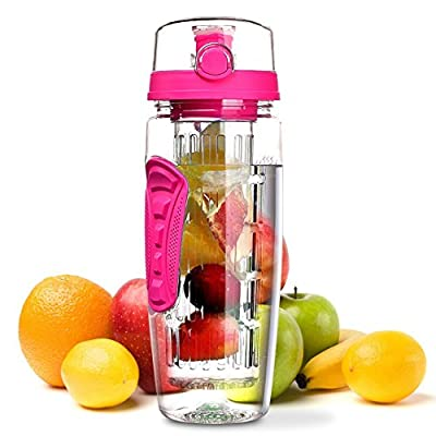 OMORC 32 OZ Sport Fruit Infuser Water Bottle, Flip Top Lid & Dual Anti-slip Grips, BPA Free Infuser Water Bottle, Free Recipes and A Cleaning Brush Gifts, Ideal for Your Office and Home(Bright Pink)