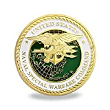 "Size:1.57*0.11(inch), iron with gold plated US Navy SEALs is a military of ""Sea, Air, and Land"" Team The coin one side with the US Navy SEALs' logo and the background is the globe, and the other side is the three warlike operations A great gift for U..."