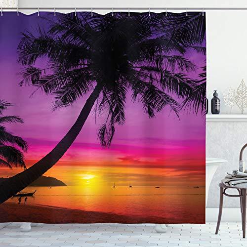Ambesonne Tropical Shower Curtain, Palm Tree Silhouette on Beach at Sunset Summertime Destination, Cloth Fabric Bathroom Decor Set with Hooks, 70' Long, Purple Orange Black
