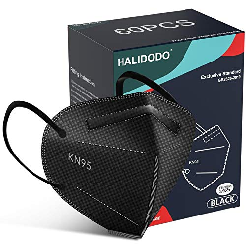 HALIDODO Individually Wrapped, 60 Packs KN95 Face Mask, 5-Ply Breathable Comfortable Safety Mask with Over 95% Filtering(Black)