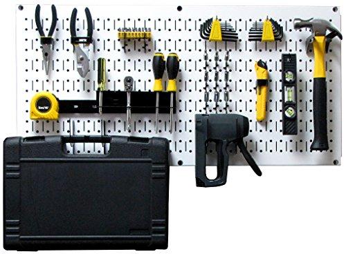 Wall Control Modular Pegboard Tool Organizer System - Wall-Mounted Metal Peg Board Tool Storage Unit for Pegboard Tiling (White Pegboard)