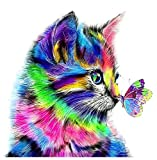 Paint by Numbers for Adults Beginner, Colorful Cat and Butterfly Paint by Number Kit for Kids, Canvas DIY Oil Painting for Home Decor Colorful Cats and Butterflies 16X20 Inch