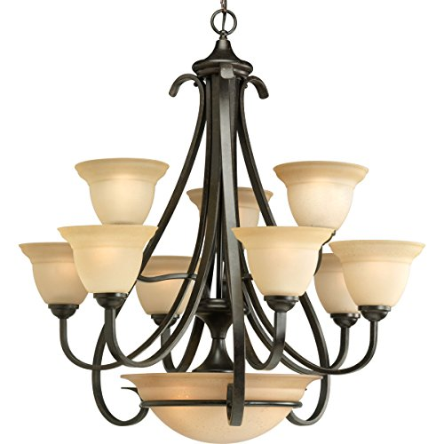 Progress Lighting P4418-77 9-Light Two-Tier Torino Chandelier, Forged Bronze