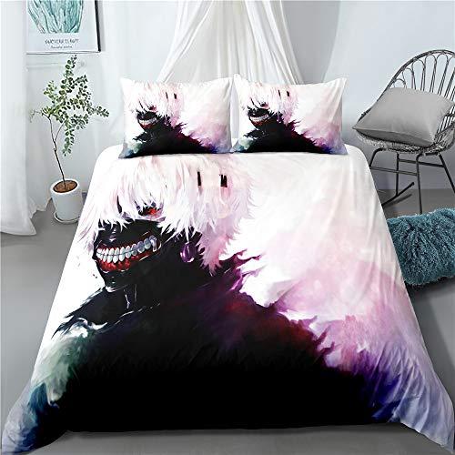 YOMOCO Tokyo Ghoul - Juego de cama (100% microfibra), diseño de anime japonés, 1 funda nórdica y 2 fundas de almohada (A03,140 x 210 cm + 80 x 80 cm x 2)