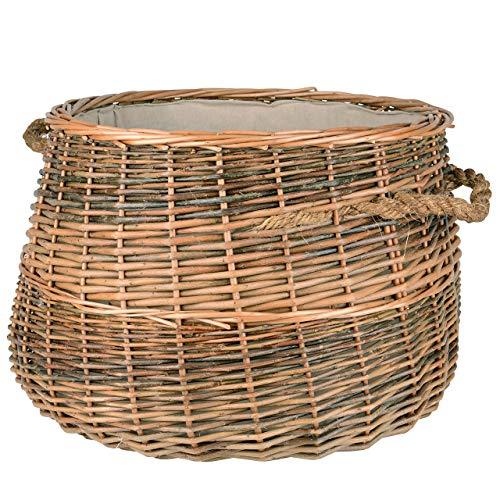 RM Design Holzkorb aus Weide Feuerholzkorb für Kaminholz, Wäschekorb oder Dekoration Durchmesser 50cm