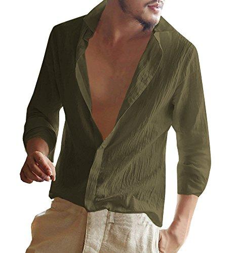 Minetom Camicie Casual Uomo Maniche Lunghe Lino Stretch Pulsanti Camicie Slim Fit Commercio Shirt Estiva Camicie Da Spiaggia Verde X-Large