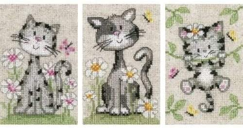 Vervaco Cats And Flowers Miniatures Aida Stitch Free Shipping Cheap Bargain Gift Genuine On Cross Counted