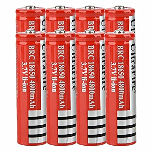 8 pcs Pilas 18650 de 3,7 V Recargables 4800mah de Gran Capacidad de Iones de Litio 18650 Baterías Recargables Pilas para Linterna LED, Dispositivos Electrónicos,18x65mm (Button Top)