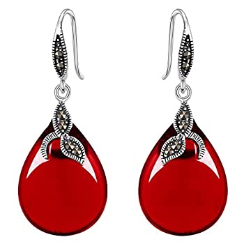 EVER FAITH 925 Sterling Silver Red Chalcedony Crystal Retro Black Leaf Teardrop Hook Earrings