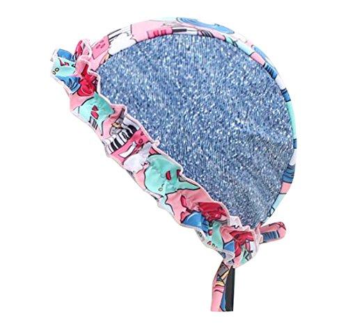 Black Temptation Tissu Spa Baignade Casquettes Protecteur d'oreille Longue et Courte Cheveux Fleur Bonnet-D3