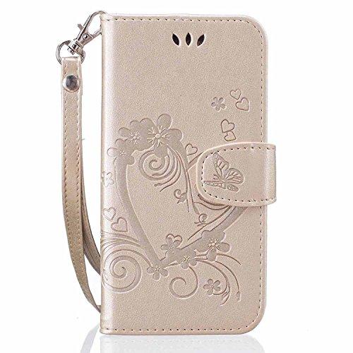 Lomogo Galaxy S6 Edge Hülle Leder, Schutzhülle Brieftasche mit Kartenfach Klappbar Magnetisch Stoßfest Handyhülle Case für Samsung Galaxy S6Edge/G925F - LORXZ020340 Gold