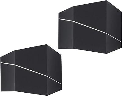 Lot de 2 appliques murales LED modernes en noir mat, Up & Down Light 18 x 14,5 cm