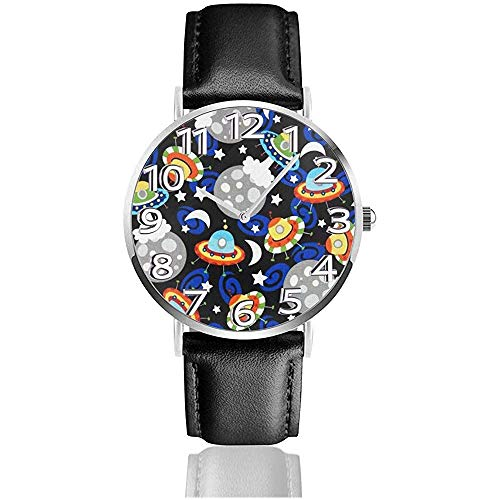 Armbanduhr Beautiful Planet und Flying Saucer Classic Casual Quarzuhr Business-Uhren