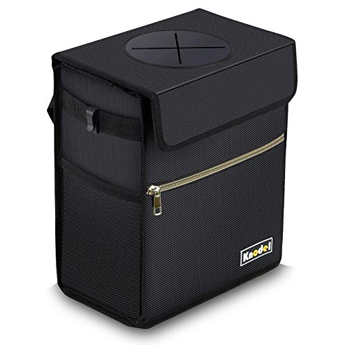 Knodel Car Trash Can with Lid, Leak-Proof Car Garbage Can with Storage Pockets, Waterproof Auto Garbage Bag Hanging for Headrest (Large, Black)