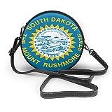 South Dakota State Flag Round Cross-Body Zipper Sac à Bandoulière en Cuir Souple Cercle Sacs à main Pour Femmes Personnalisé