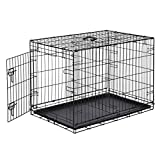 Amazon Basics Single Door Folding Metal Dog Crate Kennel with Tray, 36 x 23 x 25 Inches