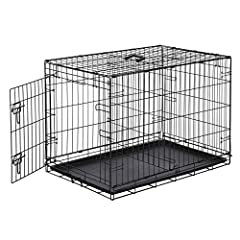 Dog crate with single-door design for front entry Two slide-bolt door latches for increased safety and security Sturdy metal construction; folds flat for easy storage/portability Optional divider panel and removable composite plastic pan included Mea...