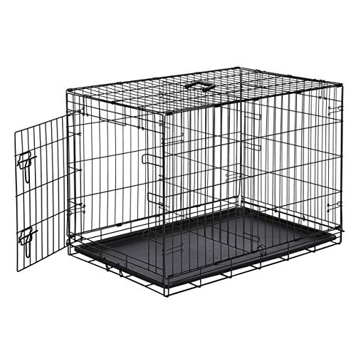 AmazonBasics Single Door Folding Metal Dog Crate Kennel with Tray, 36 x 23 x 25 Inches