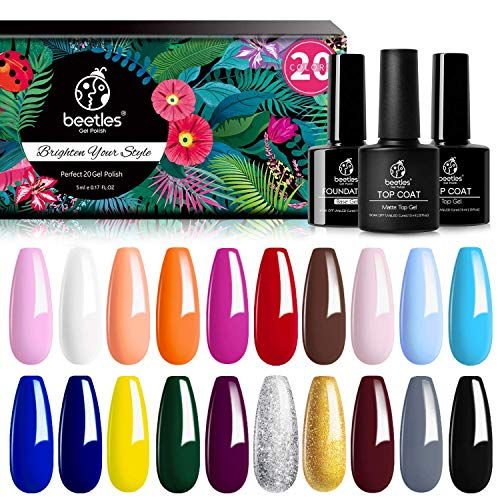 Beetles 23 Pcs Gel Nail Polish Kit - Soak Off LED Lamp Gel Polish Set Black White Glitter Nail Gel Polish With No Wipe Base and Top Coat for Nail Art Salon Starter Manicure Kit