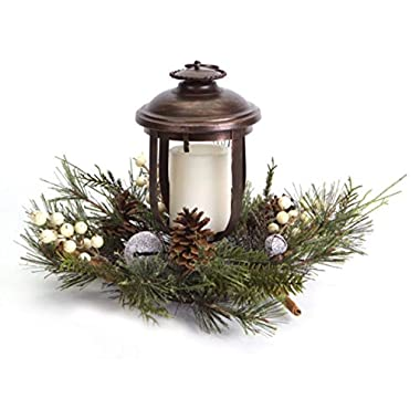 Melrose 11  Woodland Inspired Lantern with Frosted Pine and Jingle Bell Christmas Pillar Candle Holder