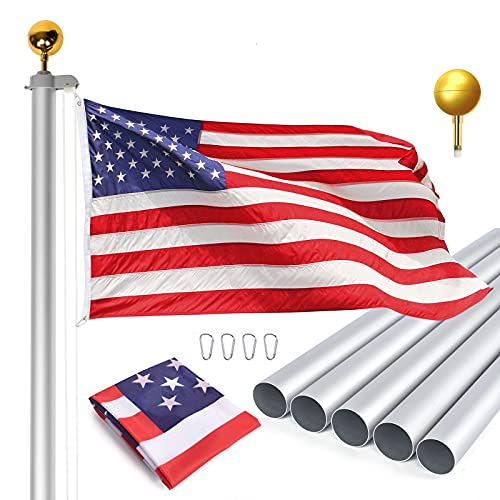 WinisKi 20FT Sectional Flag Pole Kit, Heavy Duty...