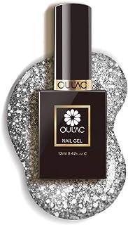 Oulac Gel Nail Polish Glitter Silver, Soak Off UV Gel Nail Art Design, 12ml (Requires Curing under UV/LED Lamp)