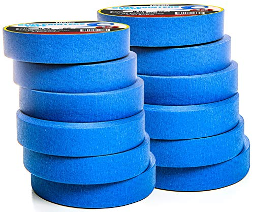 Multi-Surface Blue Painters Tape - 1 Inch Masking Tape for Painting, Crafts and DIY - Professional Grade Paint Tape, UV Resistant - 0.94 Inches x 60 Yards (12 Rolls)