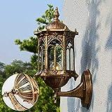 OUKANING Lámpara de pared retro vintage para exterior, lámpara de jardín, lámpara de pared E27 de latón antiguo, lámpara de pared exterior, lámpara de patio transparente para jardín