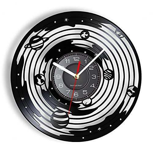 Reloj de Pared astronómico, órbita planetaria Universo Infinito Espacio Grabado con láser Vinilo Colgante de Pared Reloj Regalo