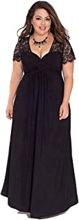 Women's Short Sleeve Dresses Lace Loose Fat Girl Casual Long Dresses Simple (Color : Black, Size : XXXXL)