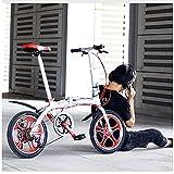Hmvlw bicicleta plegable Bicicleta plegable de 6 velocidades unisex para la aleación de aluminio de 16 pulgadas altura de aleación de aluminio ajustable de la aleación delantero y trasero de la aleaci