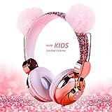 Auriculares para niños Unicornio, Orejas de Gato con Cable Auriculares para niñas con micrófono para la Escuela/Navidad/Regalos de cumpleaños/Hogar/Viajes (Oso Rosa)