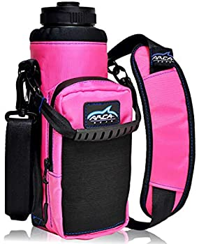 Arca Gear 40 oz Hydro Carrier - Insulated Water Bottle Sling w/Carry Handle Shoulder Strap Wallet and Two Pouches - The Perfect Flask Accessory - Sunset Pink