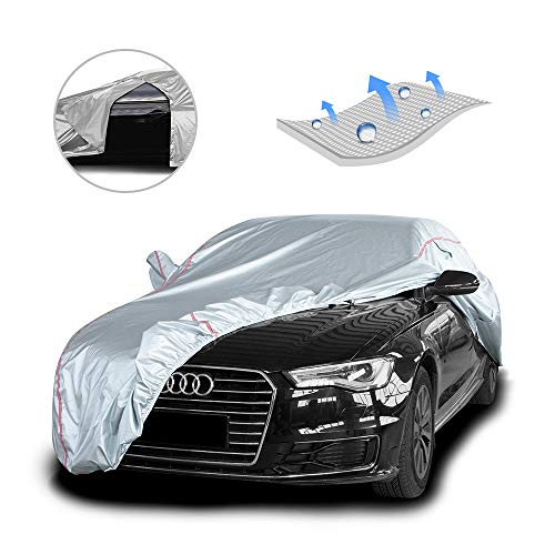 Tecoom Hard Shell Coupe/Convertible/Sport Car Cover Door Zipper Design Waterproof UV-Proof Windproof for All Weather Indoor Outdoor Fit 170-180 Inches Length